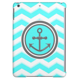 Cute Blue Chevron Pattern Anchor Smile Cover For iPad Air