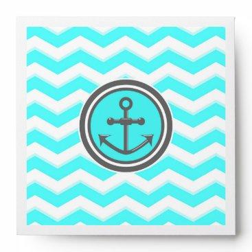 Beach Themed Cute Blue Chevron Pattern Anchor Smile Envelope