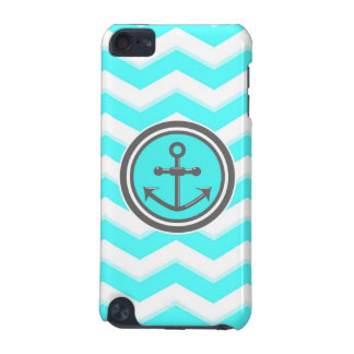 Cute Blue Chevron Pattern Anchor Smile iPod Touch 5G Case