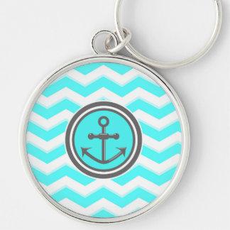 Cute Blue Chevron Pattern Anchor Smile Keychain
