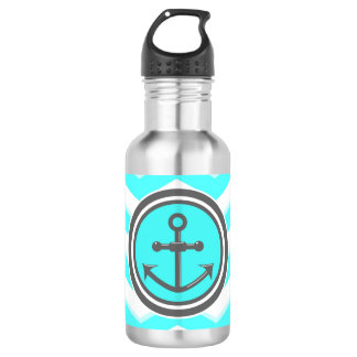Cute Blue Chevron Pattern Anchor Smile Stainless Steel Water Bottle