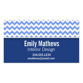 Cute Blue Chevron Pattern Business Card Template