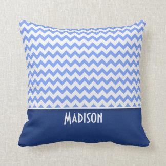 Cute Blue Chevron Pattern Throw Pillow