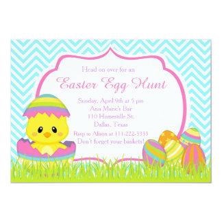 Cute Blue Chevrons Easter Chick Easter Egg Hunt Card