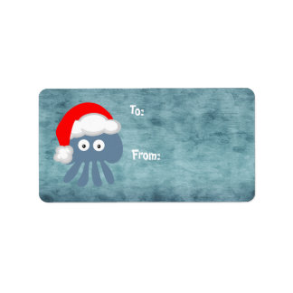 Cute Blue Christmas Jellyfish Santa Label