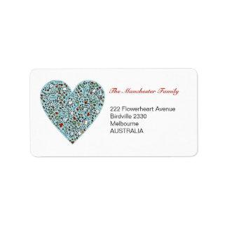 Cute Blue Christmas Love Heart Address Labels