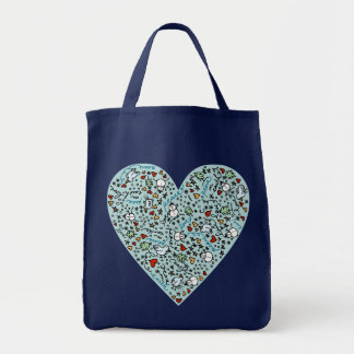 Cute Blue Christmas Love Heart Tote Bag