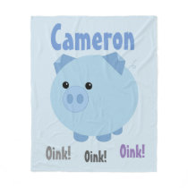Cute Blue Chubby Pig Fleece Blanket