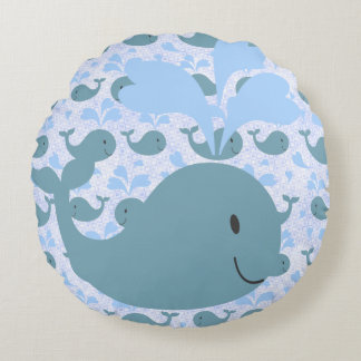 Cute Blue Chubby Whale With Pattern Round Pillow