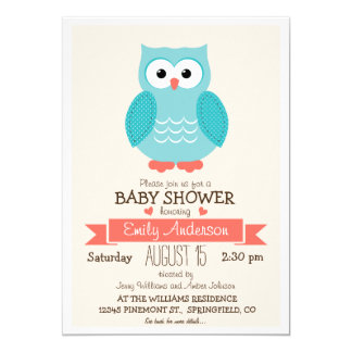 """Cute Blue & Coral Owl Baby Shower or Sprinkle 5"""" X 7"""" Invitation Card"""