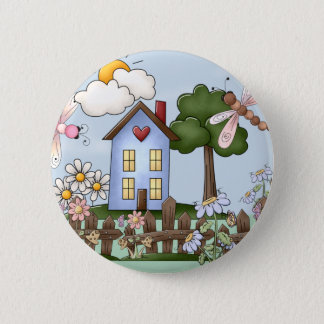Cute Blue Country House in the Sunshine Button