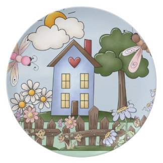 Cute Blue Country House in the Sunshine Dinner Plate