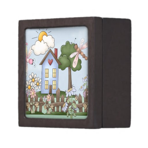 Cute Blue Country House in the Sunshine Premium Trinket Box