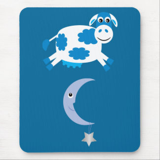 Cute Blue Cow Jumping Over The Moon Mouse Pad
