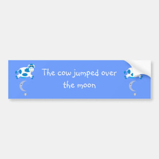 Cute Blue Cows Jumping Over The Moon Bumper Stickers