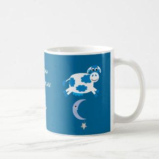 Cute Blue Cows Jumping Over The Moon Coffee Mug