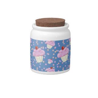 Cute Blue Cupcake Pattern Candy Jar