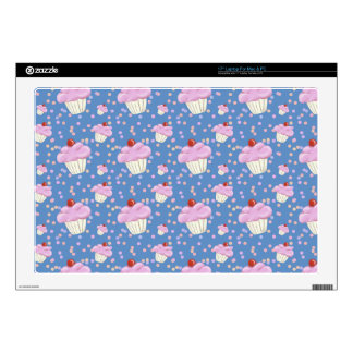 """Cute Blue Cupcake Pattern Decals For 17"""" Laptops"""