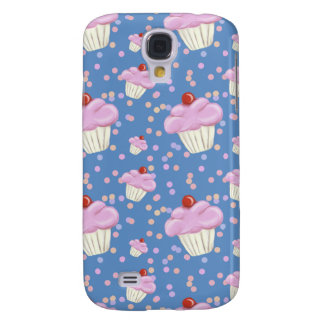 Cute Blue Cupcake Pattern Galaxy S4 Case