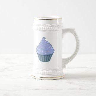 Cute Blue Cupcake Swirl Icing With Sprinkles Beer Stein