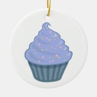 Cute Blue Cupcake Swirl Icing With Sprinkles Ceramic Ornament