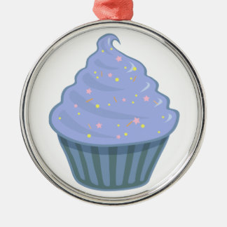 Cute Blue Cupcake Swirl Icing With Sprinkles Christmas Ornaments