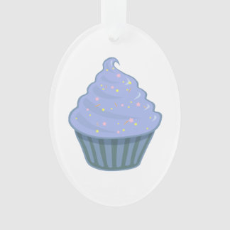 Cute Blue Cupcake Swirl Icing With Sprinkles Ornament