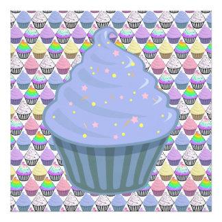 Cute Blue Cupcake Swirl Icing With Sprinkles Photo Print