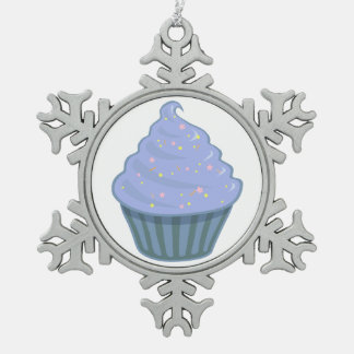 Cute Blue Cupcake Swirl Icing With Sprinkles Snowflake Pewter Christmas Ornament