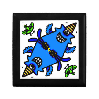 Cute Blue Cyclops Monster and Bird pattern Keepsake Box