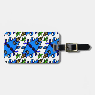Cute Blue Cyclops Monster and Bird pattern Luggage Tag