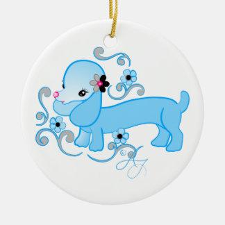 Cute Blue Dachshund Ceramic Ornament