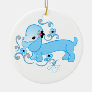 Cute Blue Dachshund Double-Sided Ceramic Round Christmas Ornament