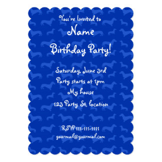 Cute blue dachshund pattern 5x7 paper invitation card