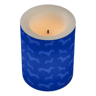 Cute blue dachshund pattern flameless candle