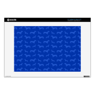"Cute blue dachshund pattern decals for 13"" laptops"