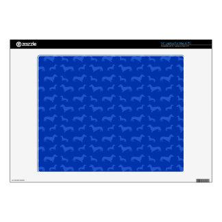 Cute blue dachshund pattern laptop decal