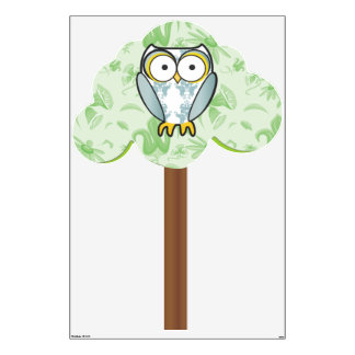 Cute Blue Damask Owl Pattern in Tree Wall Decal