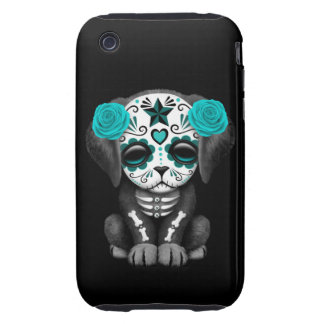 Cute Blue Day of the Dead Puppy Dog Black Tough iPhone 3 Case