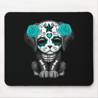 Cute Blue Day of the Dead Puppy Dog Black Mouse Pad