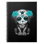Cute Blue Day of the Dead Puppy Dog Black Spiral Notebook