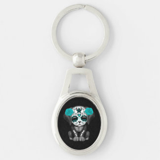 Cute Blue Day of the Dead Puppy Dog Black Key Chains