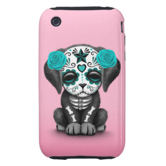 Cute Blue Day of the Dead Puppy Dog Pink iPhone 3 Tough Cover