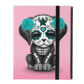 Cute Blue Day of the Dead Puppy Dog Pink iPad Cover