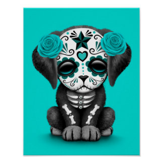 Cute Blue Day of the Dead Puppy Dog Poster