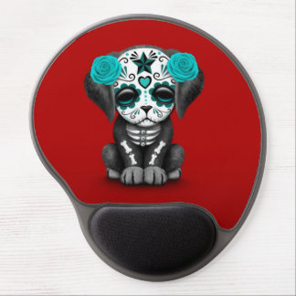 Cute Blue Day of the Dead Puppy Dog Red Gel Mouse Pad