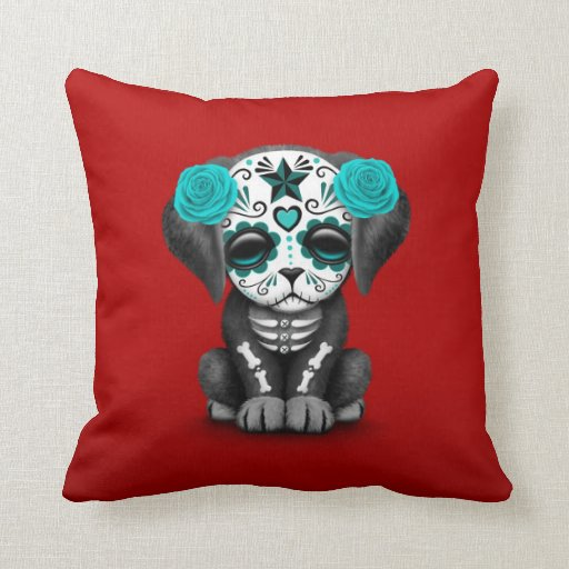 Red Dog Throw Pillows : Cute Blue Day of the Dead Puppy Dog Red Throw Pillow Zazzle