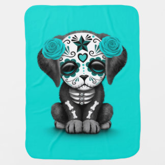 Cute Blue Day of the Dead Puppy Dog Swaddle Blanket