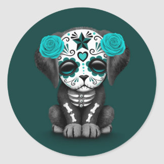 Cute Blue Day of the Dead Puppy Dog Teal Classic Round Sticker