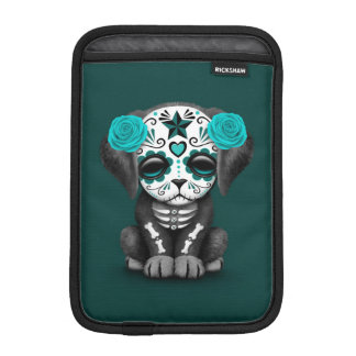 Cute Blue Day of the Dead Puppy Dog Teal iPad Mini Sleeve